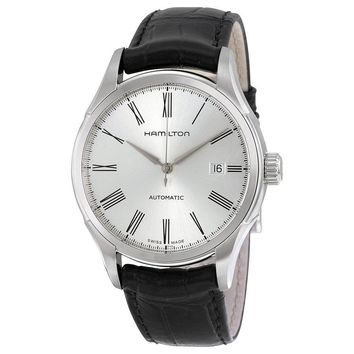 Hamilton Valiant Silver Dial Leather Strap Mens Watch H39515754