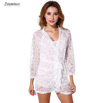 54b245834f Lace Short Robe Vintage Chemise Comfy Pajamas Bridal Nightgown Romantic  Nightdress Floral Kimono