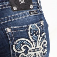 Miss Me Bootcut Jeans with White Fleur de Lis and Blue Lattice Pocket