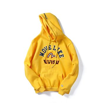 Champion x Evisu joint autumn and winter embroidered hooded pullover sweater Yellow