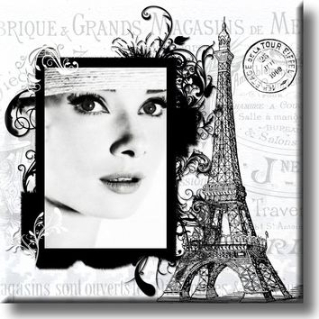 French Girl and Eiffel Tower Picture on Stretched Canvas, Wall Art Décor, Ready to Hang