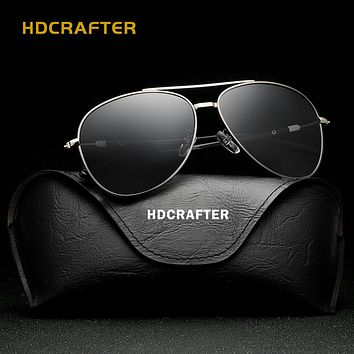 HDCRAFTER Polarized mens sunglasses brand designer retro Vintage Eyewear Accessories aviation Mirror Sun Glasses For Men shades