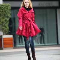 Rose Red Hooded Jacket Fluffy Faux Suede Leather Hoodie Winter Coat long sleeves custom Women Tunic - NC266