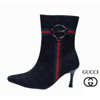 GUCCI Fashion Leather Pointed Toe Stiletto High Heels Shoes