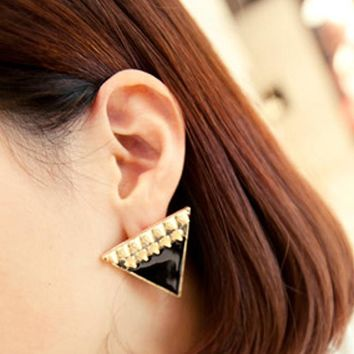 ES745 Romantic Fashion Rivet Triangle Enamel Earrings Hundred Towers Ear Ding Jewelry Rings for women