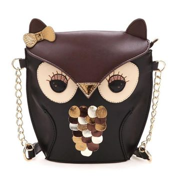 Owl Shaped Animal Themed Cross body Shoulder Bag for Women in Brown