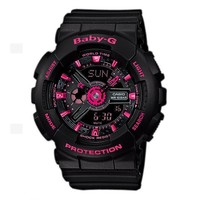Ladies' Casio Baby-G Black and Neon Pink Ana-Digi Watch