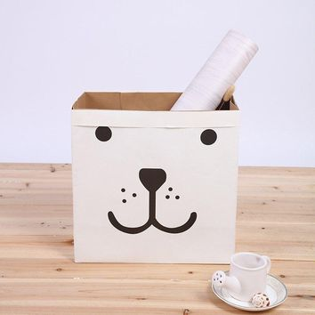 Kraft Paper Storage Bag Square Cartoon Recycle Bags Children Room Toys Books Holder Organizer
