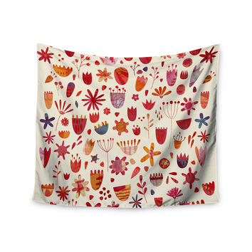 """Nic Squirrell """"Spring Flowers"""" Pink Red Wall Tapestry"""