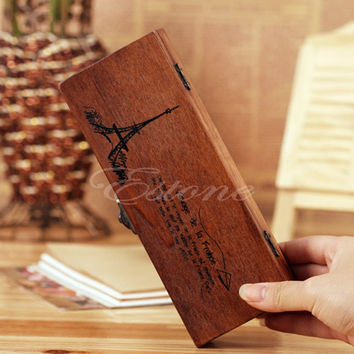 New Wood Wooden Pen Pencil Case Holder Stationery Box Storage Eiffel Tower Wood Tool Box