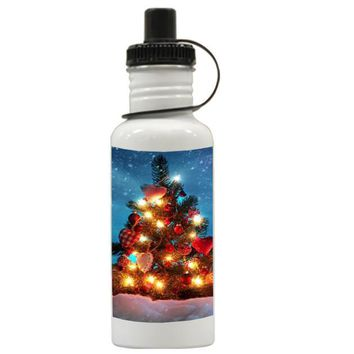 Gift Water Bottles | Tree Lamp Christmas Aluminum Water Bottles