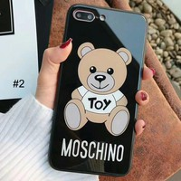 Moschino Tide brand Teddy Bear Glass Mirror iPhone X Case Cover #2