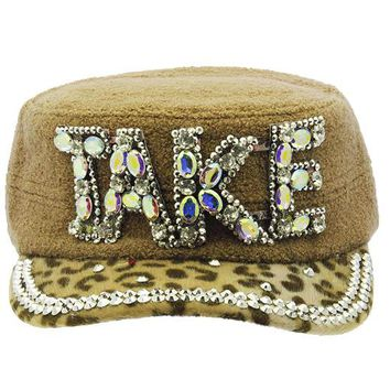 Khaki Take Military Style Hat And Cap