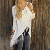 Boho Style Autumn Women Blouse Tassels Crochet Ladies Knitted Tops Casual Long sleeve shirts Tops Blusa Feminino