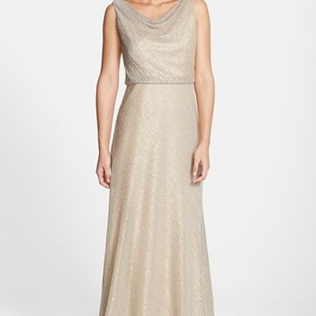 Women's Jenny Yoo 'Madelyn' Drape Neck Galaxy Knit Gown