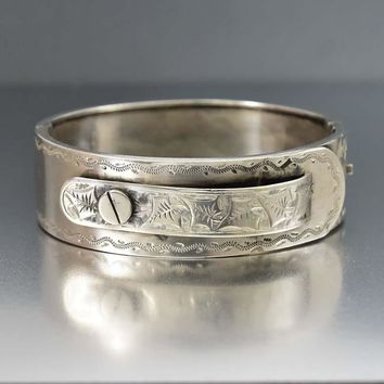 Outstanding Antique Silver Engraved Cuff Bangle Bracelet