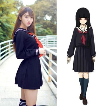 Anime Hell Girl Cosplay Costume School Sailor Uniform Suit Student Japanese/Korean dress