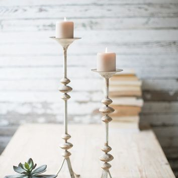 Set of 2 Painted Metal Candle Towers