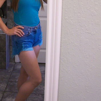 Teal Cutoff Shorts Women's size 4 ripped frayed dip-dyed teal CuTe
