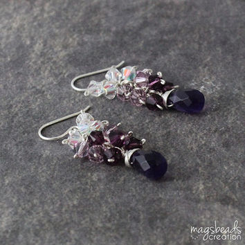Drop Briolette Purple Amethyst Ombre Crystals Earrings, Dark Purple Stone, Ombre Purple Earrings, Petite Cluster Crystal Jewelry, Jewellery
