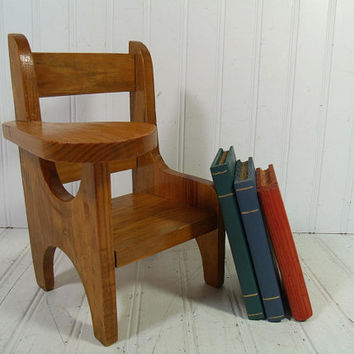 Primitive Doll Size Wooden Arm Chair Desk - Vintage Hand Crafted Rustic Seat - Petite Chippy Honey Stained Bench - Wood Work Shop Photo Prop