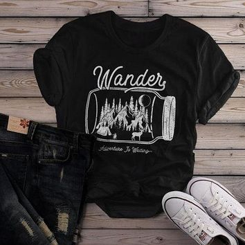 Women's Wander Hipster T-Shirt Mason Jar Adventure Camping Tee Mountains Camp Fire