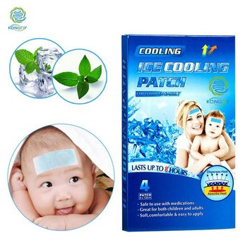 KONGDY Chinese Ice Instant Cooling Gel Patch 4 Pieces/Box Temperature Ice Body Massager Cooling Fever Plaster For Baby Children