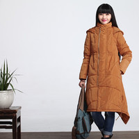 Loose casual Long duck down winter jacket coat women clothing - Yellow