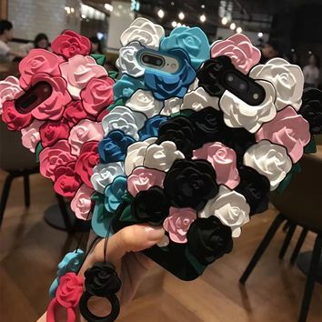 Fashion Rose flowers Cherish a lifetime Cover Phone 3D Cute Soft Silicone Case Back Cover Lanyard for iPhone 6 6s 6plus 8 7 plus