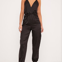 Paris Black Frill Open Leg Jumpsuit