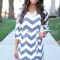Grey Chevron 3/4 Sleeve Dress