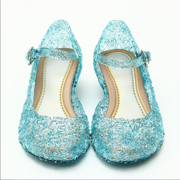 Hot Summer Kids Princess Crystal Jelly Shoes Girls Hollow Elsa Cosplay Party Sandals Dance Wedges Shoes
