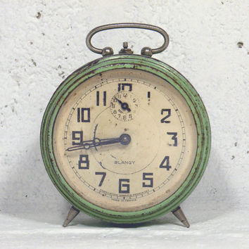 French vintage Blangy alarm clock. peppermint alarm clock. shabby chic alarm clock, mechanical alarm clock. blue green alarm clock.