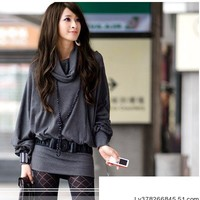 Stylish Cowl Neckline Long Sleeve Solid Women's Fashion Blouse Tops Shirt Casual