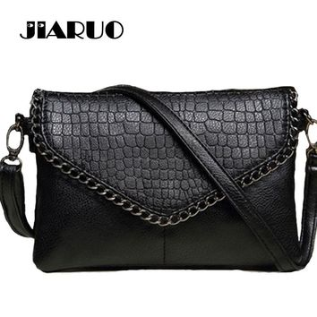 JIARUO Small Luxury brand Designer Women Leather Envelope Shoulder Crossbody Messenger bag Chain Vintage Handbag and purses