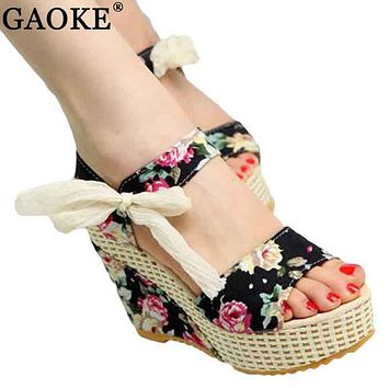 Womens 2018 Summer New Sweet Flowers Buckle Open Toe Wedge Sandals Floral high-heeled Shoes Platform Sandals