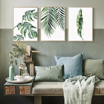 BIANCHE WALL Nordic Small Green Plants Tropical Plants Big Leaves Poster Wall Art Canvas Painting Picture for Home Decor