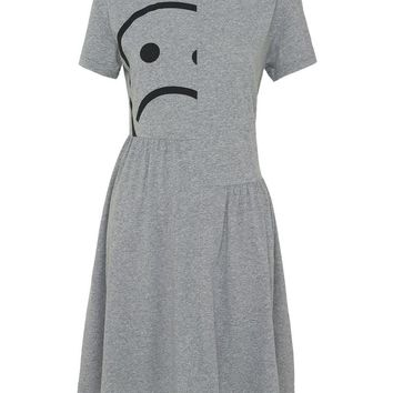MAGNIFIED SAD FACE TEE DRESS