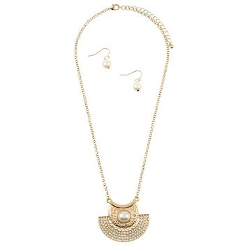 Rhinestone pave half circle pendant necklace set