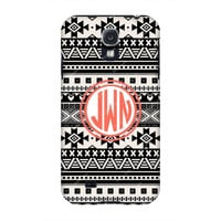 Monogram Samsung case, Galaxy s4 Monogram, Blue Aztec Monogram Samsung s4 case, Monogram s3/Note 2 case, Customized Samsung Galaxy