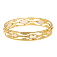 Freida Rothman | 14K Gold Plated Textured Mother of Pearl & CZ Eyelet Bracelet Set - Set of 3 | Nordstrom Rack
