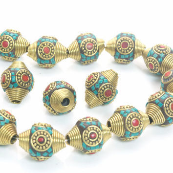 brass and  clay cone beads -  polymer clay jewelry supplies - polymer clay for jewelry making - 22x18mm bicone beads -4pcs