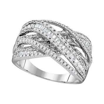 10kt White Gold Womens Round Baguette Diamond Crossover Fashion Band Ring 1.00 Cttw - FREE Shipping (US/CAN)
