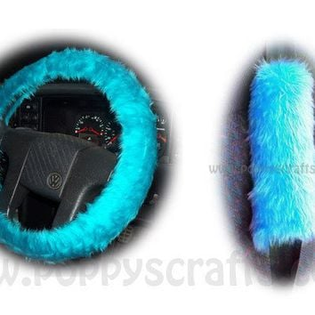 Gorgeous Teal Turquoise Car Steering wheel cover & matching fuzzy faux fur seatbelt pad set