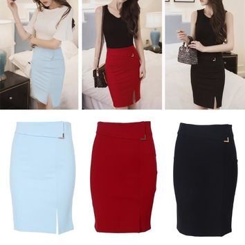 Women Front Furcal Flexible Pencil Skirt Saia Back Zipper Sexy Office Formal Skirts