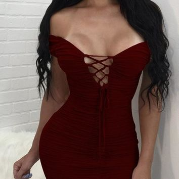 Burgundy Pleated Backless Zipper Lace Up Off Shoulder Bodycon Club Mini Dress