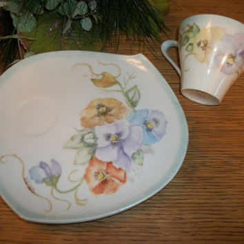 Vintage Coffee Cup and Dessert Plate Snack Set Hand Painted Floral Tableware Mother's Day Breakfast in Bed Personal Dish Set