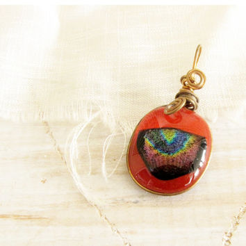 Red Fused Glass with Red Gold Green Purple Black Dichroic Glass Pendant Wire Wrapped Copper Glass