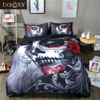 Black Skull Bedding Set Style Bed Sheet Queen King Double Bed Linen Cotton Blend Flower Skull Duvet Cover Set