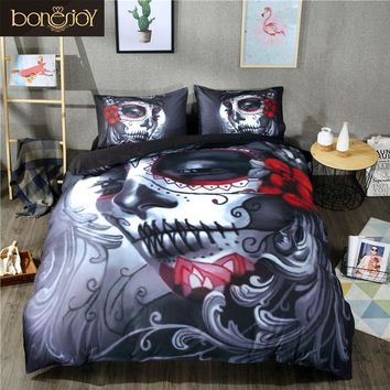Bonenjoy Black Skull Bedding Blend Flower Skull Duvet Cover Set